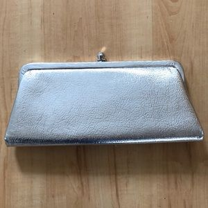 Vintage metallic silver clutch